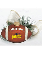 Toledo Rockets Glass Football Ornament