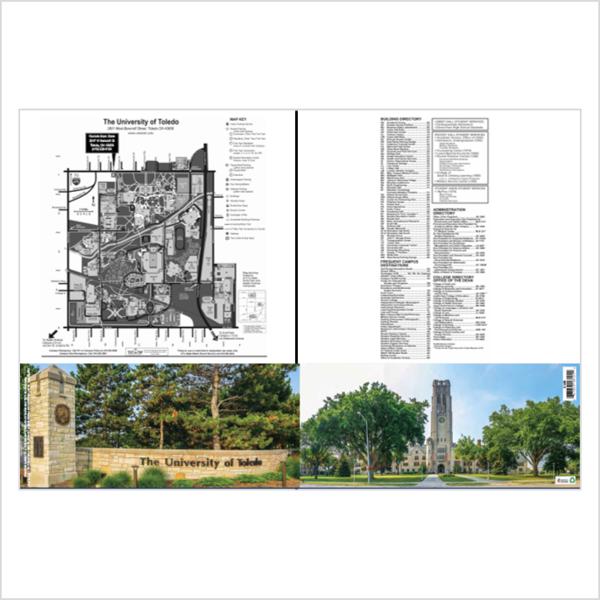 University Of Toledo Scenic 2 Pocket Campus Map Folder Rockets